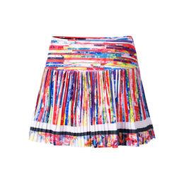 Long Techno Stripe Pleated Skirt