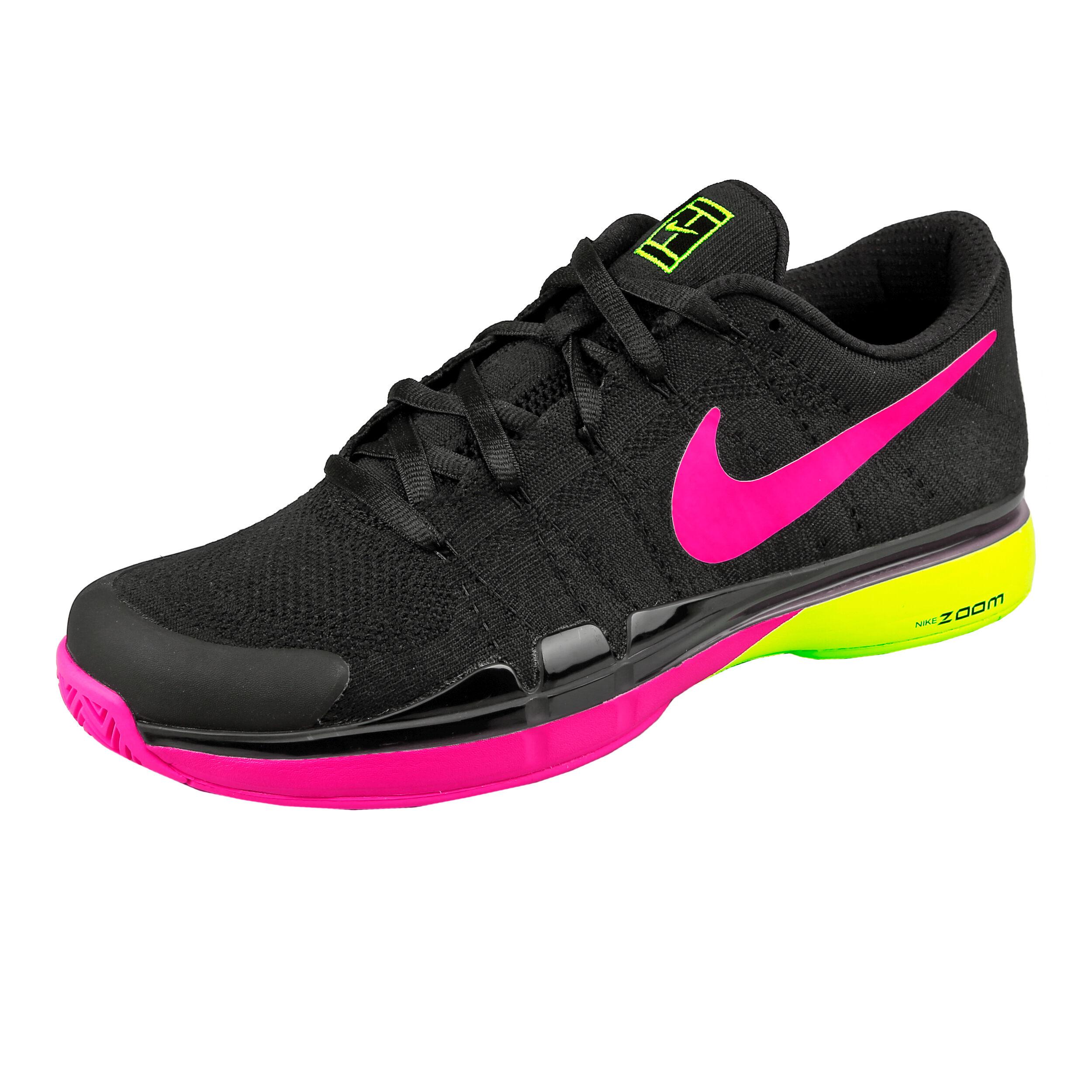 Nike Roger Federer Zoom Vapor 9.5 Tour Flyknit LE NIGHT Scarpa Per Tutte Le Superfici Uomini Nero, Giallo Neon