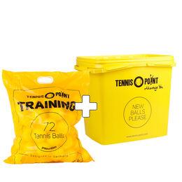 Training 72 Bälle im Beutel (druckloser Tennisball) + Balleimer