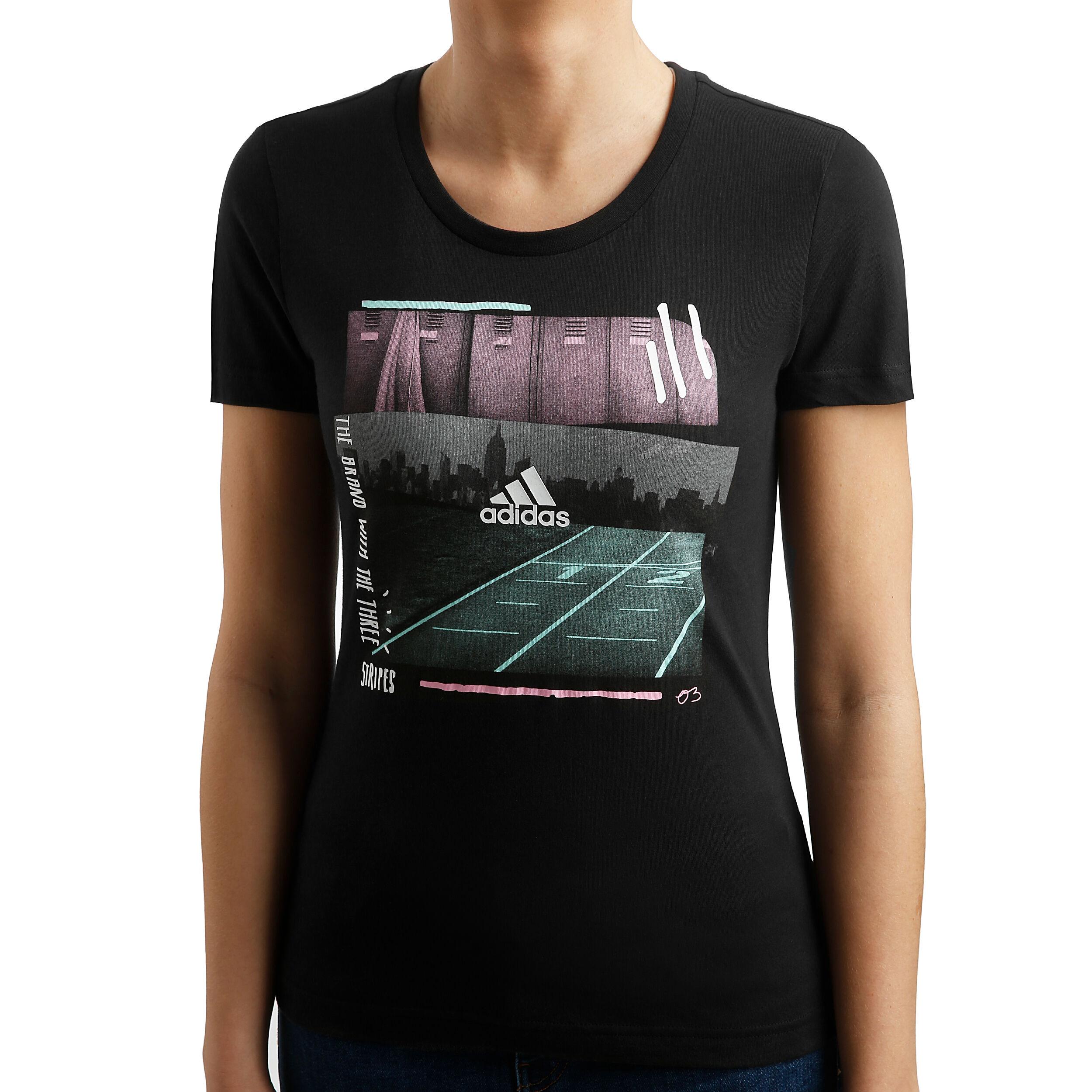 Dettagli su T shirt 3 Stripes adidas Blu Donna
